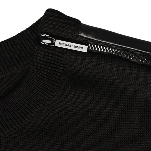Michael Kors Womens Black 3/4 Sleeve Zip Leather Pocket Top  main image