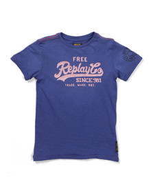 Replay Boys Blue Boys Large Logo T Shirt