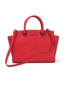 Michael Kors Womens Red Selma Large Leather Satchel