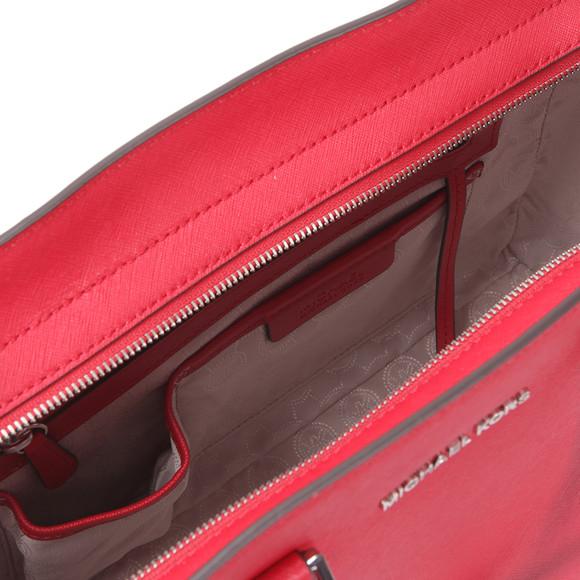 Michael Kors Womens Red Selma Large Leather Satchel main image