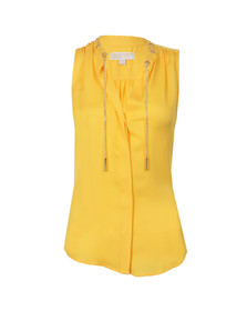 Michael Kors Womens Yellow Chain Neck Blouse