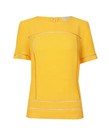 Michael Kors Womens Yellow Laddering Top