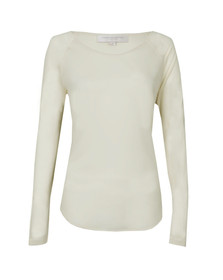 French Connection Womens Off-white Polly Plains Long Sleeve T-Shirt
