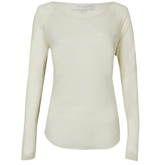 French Connection Womens Off-White Polly Plains Long Sleeve T-Shirt main image