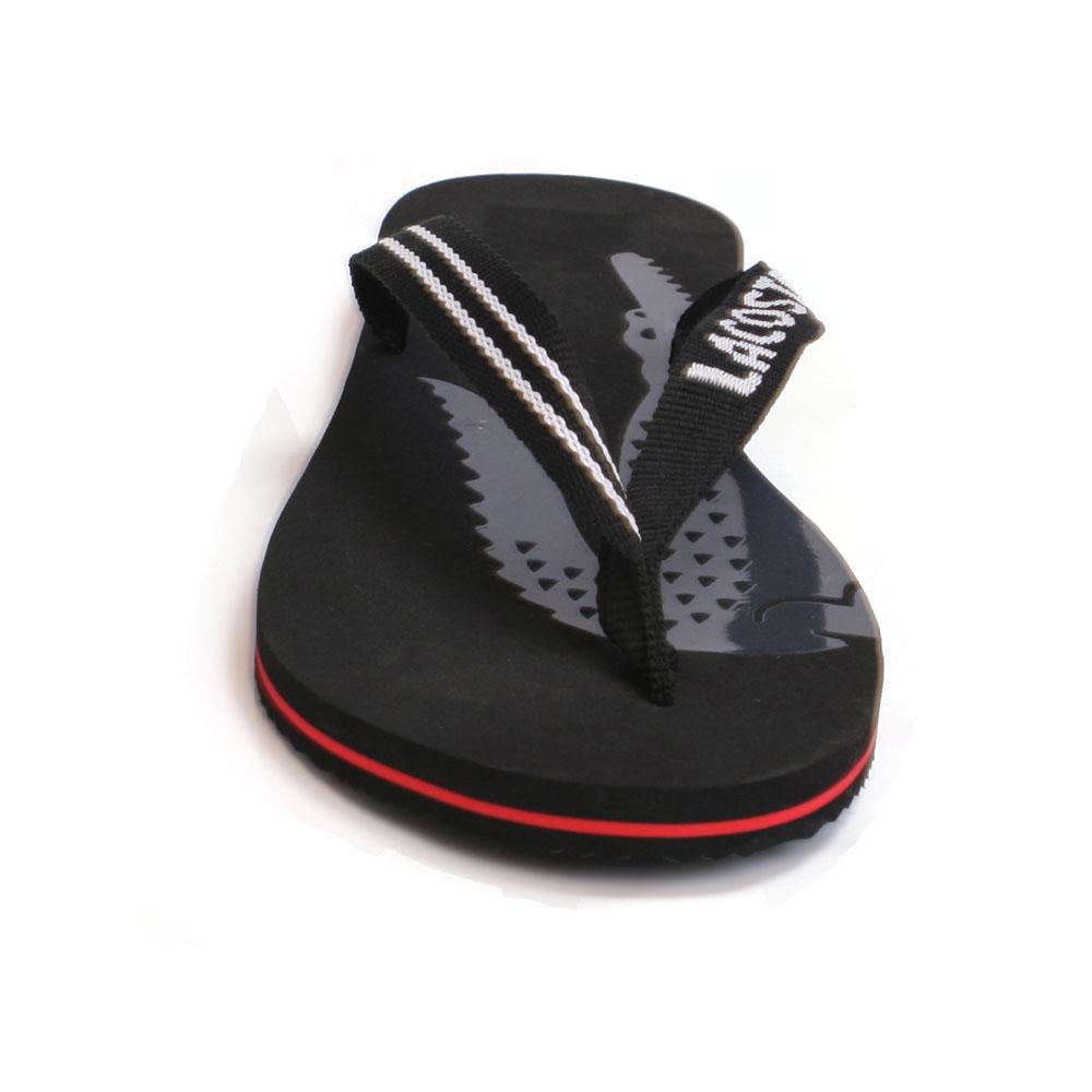 d6f04499c1 Lacoste Mens Black Lacoste Black/Red Neon RW SPM Flip Flops main image.  Loading zoom