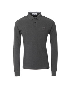 Stone Island Mens Grey Tipped Long Sleeve Regular Fit Polo