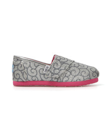 Toms Girls Silver Swirl Pattern Canvas