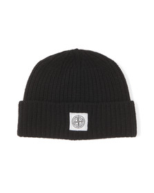 Stone Island Mens Blue Knitted Square Badge Hat