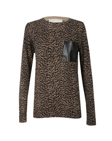 Michael Kors Womens Brown Jaguar Leather Pocket Top
