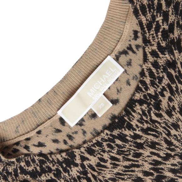 Michael Kors Womens Brown Jaguar Leather Pocket Top main image