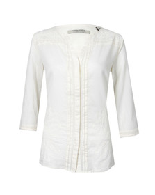 Maison Scotch Womens Off-white Cotton Tunic With Lace Inserts