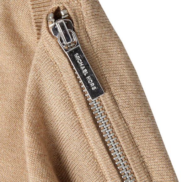 Michael Kors Womens Brown Zip Shoulder Drape Cardigan main image