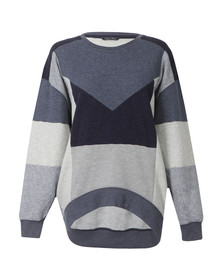 Maison Scotch Womens Blue Oversized Patchwork Sweater
