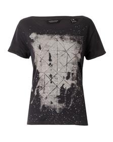 Maison Scotch Womens Black Black & White Print T Shirt