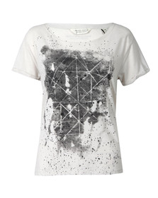 Maison Scotch Womens Off-white Black & White Print T Shirt
