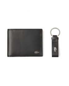 Lacoste Mens Black Small Billfold & Key Ring Set