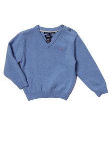 Gant Boys Blue Baby Light Weight Lambswool V Neck Jumper