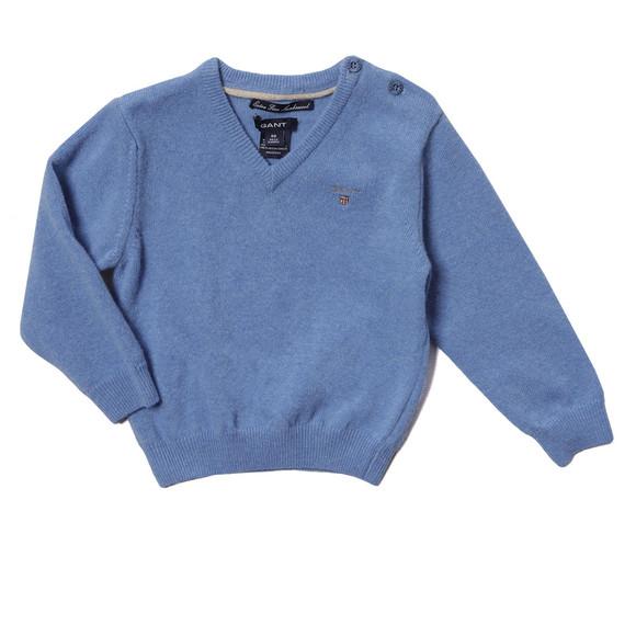Gant Boys Blue Baby Light Weight Lambswool V Neck Jumper main image