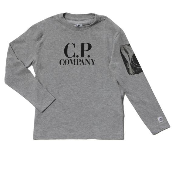 C.P. Company Undersixteen Boys Grey Long Sleeve Viewfinder Sleeve T Shirt