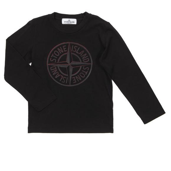 Stone Island Junior  Boys Black Long Sleeve Raised Compass T Shirt main image