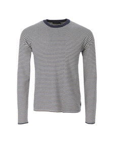 Paul Smith Jeans Mens Blue Stripe Knitted Crew Jumper