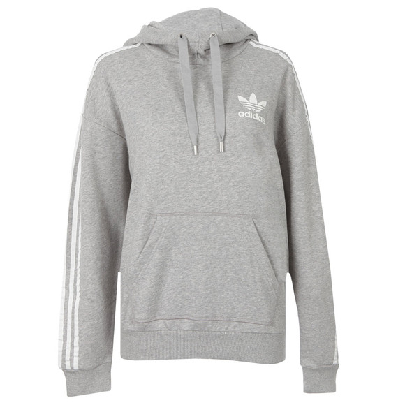 Womens Grey 3 Stripe Hoody