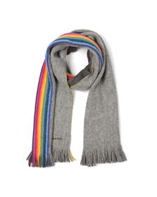 Paul Smith Jeans Mens Grey Rainbow Stripe Scarf
