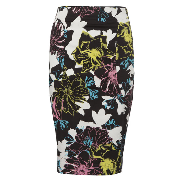 French Connection Womens Black Botanical Trip Pencil Skirt main image
