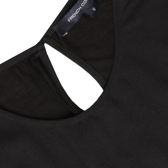 French Connection Womens Black Polly Plains Capped Sleeve Tee main image
