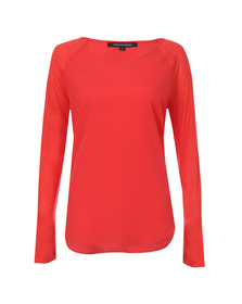 French Connection Womens Red Polly Plains Long Sleeve T-Shirt