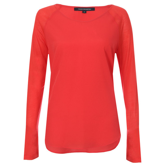 French Connection Womens Red Polly Plains Long Sleeve T-Shirt main image