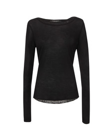 Maison Scotch Womens Black Jersey Front Long Sleeve Top