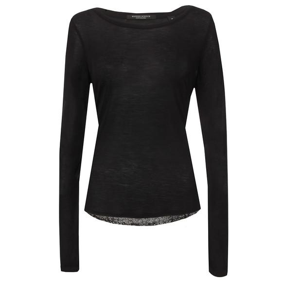 Maison Scotch Womens Black Jersey Front Long Sleeve Top main image
