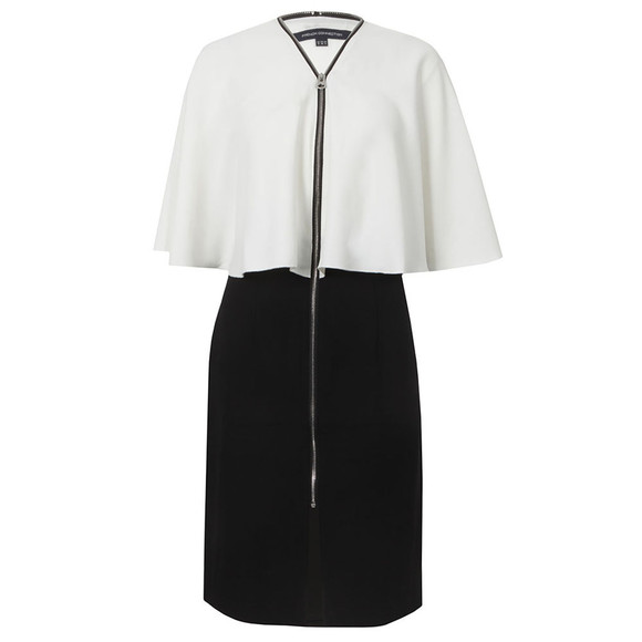 French Connection Womens Black Arrow Crepe V Neck Zip Dress main image