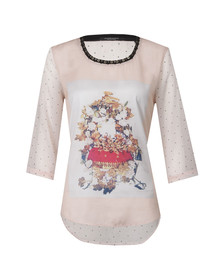 Maison Scotch Womens Pink Photo Printed Woven Top