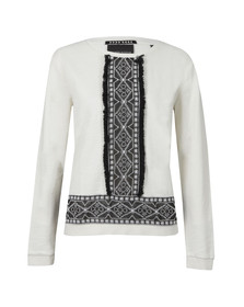 Maison Scotch Womens Off-white Embroidered Sweat With Fringe