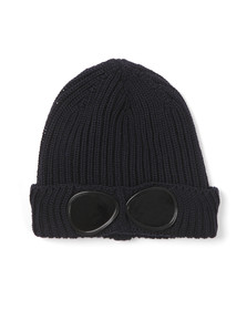C.P. Company Undersixteen Boys Blue Knitted Goggle Hat
