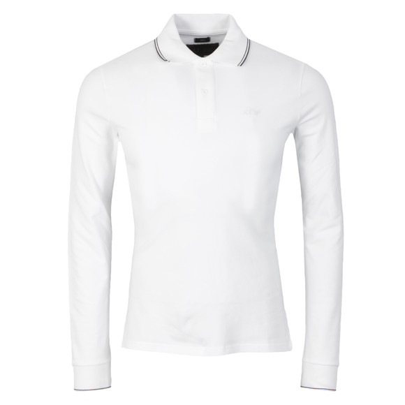 Armani Jeans Mens White 06M36 Long Sleeve Tipped Polo Shirt main image