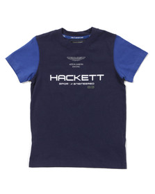 Hackett Boys Blue Aston Martin Racing Logo T Shirt
