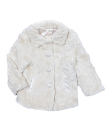 Billieblush Girls Off-white Girls Faux Fur Coat
