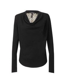 Maison Scotch Womens Black Long Sleeve Jersey Cowl Neck Top