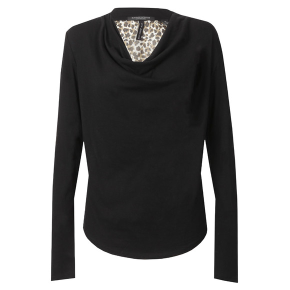 Maison Scotch Womens Black Long Sleeve Jersey Cowl Neck Top main image