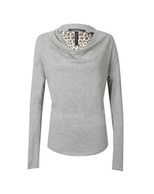Maison Scotch Womens Grey Long Sleeve Jersey Cowl Neck Top