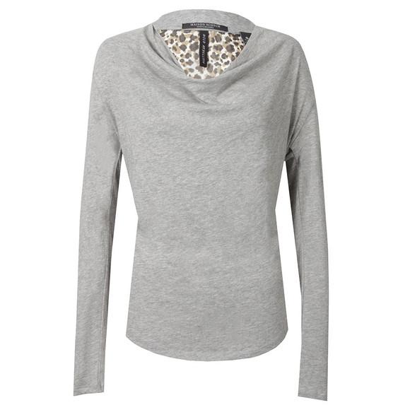 Maison Scotch Womens Grey Long Sleeve Jersey Cowl Neck Top main image