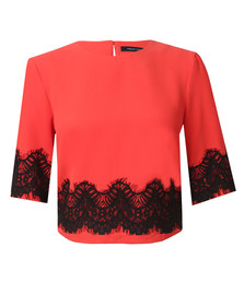 French Connection Womens Red Linea Lace Cropped Top