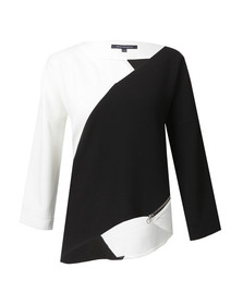 French Connection Womens Black Arrow Crepe Side Zip Top