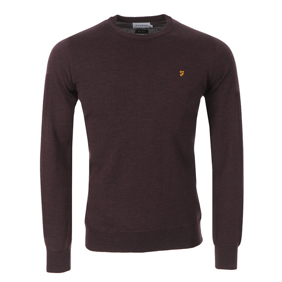 Farah Mens Red Mullen Wool Crew Jumper main image