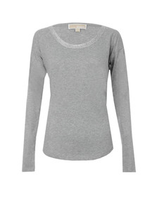 Michael Kors Womens Grey Metallic Trim Long Sleeve
