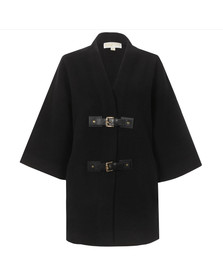 Michael Kors Womens Black Buckle Sweater Coat