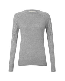 Michael Kors Womens Grey Stud Sleeve Sweater